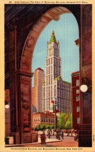 New York City View Through Arch Of Municipal Building Showing City Hall Trans...
