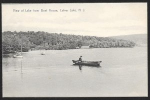 Lake View From Boat House Man In Row Boat Culver Lake New Jersey Unused c1910s
