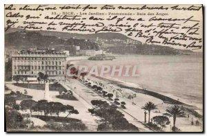 Postcard Old Nice Promenade Gardens Bay of Angels