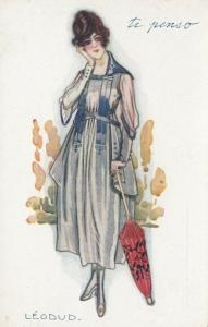 ART DECO ; Female wearing navy blue & gray dress, red/black parasol, 1910-20s
