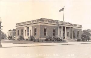 Madison South Dakota~US Post Office~Cars Parked Behind~1930s RPPC-Postcard