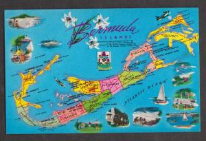 Island Map With Mini Pictures, Bermuda - Uunsed