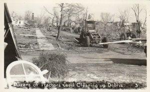 RP: BUNKERHILL , Illinois , 1948 ; Tornado , Tractors cleaning Debris