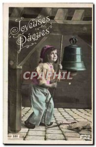 Postcard Old Child Bell Bell Easter