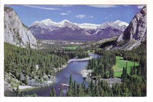 Golf Course, Bow Valley and River, Fairholme Mountain Range, Alberta, Photo CPR