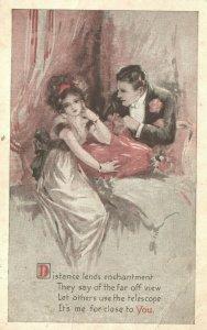 Vintage Postcard 1915 Man & Woman Love Distance Lends Enchantment