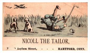 13221    Trade Card hunter falls  CT  Hartford  Nicoll the Tailor