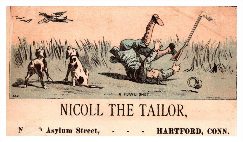 13221    Trade Card hunter falls  CT  Hartford  Nicoll the Tailor