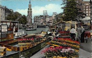 Netherlands Amsterdam Flowermarket Singel River Boats Postcard