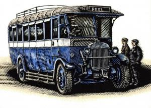 Bus Art Postcard, Thornycroft BC 28 Seat Single Deck 1928 MN5454, Manx Buses 52S