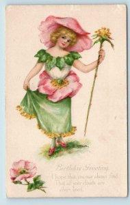 FANTASY FLOWER GIRL  W/Yellow Flower c1910s Signed Artist Dulk Birthday Postcard