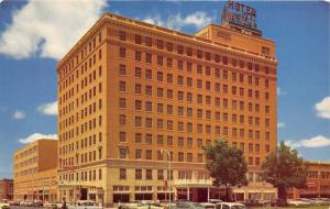 Abilene Texas~Hotel Windsor & Petroleum Building~50s Cars in Street~Postcard