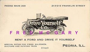 1926 Peoria IL Business Card With Auto Rental Details