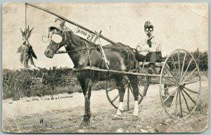 COOL JOKEY EXAGGERATED ANTIQUE PHOTOMONTAGE POSTCARD copyright 1916