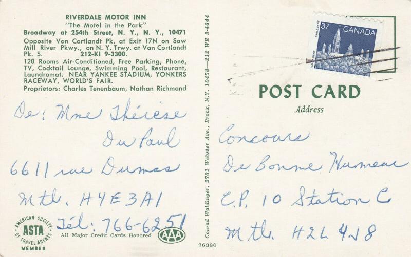 NEW YORK CITY, New York, 1940-60s ; Parkview Restaurant, Riverdale Motor Inn