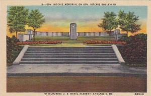 Gov. Ritchie Memorial On Gov. Ritchie Boulevard, Overlooking U. S. Naval Acad...