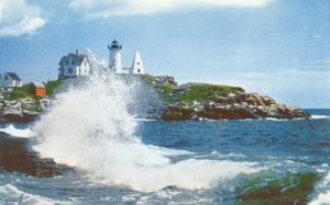 High Surf at Nubble Light, York , Maine unused Postcard