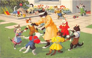 F60/ Alfred Mainzer Dressed Cats Postcard c1940s Playground Blindfold 24