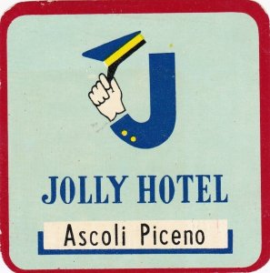 Italy Ascoli Piceno Jolly Hotel Vintage Luggage Label sk3512