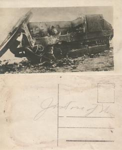 WWI DESTROYED TANK REAL PHOTO POSTCARD ANTIQUE RPPC