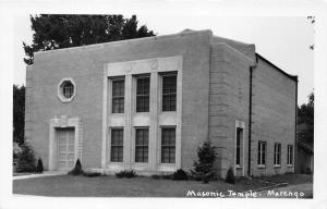 Marengo Iowa~Masonic Temple~Octagonal Window Above Door~1940s RPPC Postcard