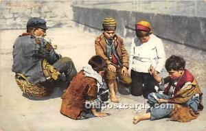 Old Vintage Gambling Postcard Post Card Kids playing Cards 1914 Missing Stamp