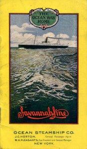 Brochure -Savannah Line Ocean Steamship Co, ca 1904    (6 X 3.5)14pp