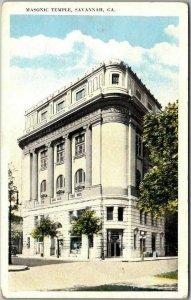 Savannah, Georgia Postcard Masonic Building Lodge Street View c1930s Unused