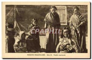 Postcard Old Missions Polar Eskimo Family Eskimo