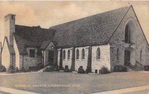D35/ Loudonville Ohio Postcard c1940s Catholic Chruch Building