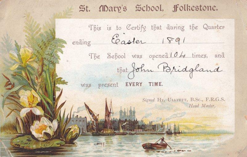 St Marys School Folkestone Kent 1891 Fishing Boat Victorian Attendance Card