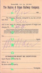 1898 Dayton & Union Railway CO PC: Holding Freight, Charges Due, Rare Short Line