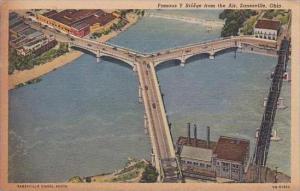 Ohio Zanesville Famous Y Bridge From The Air