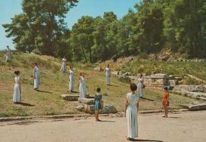 Olympia Greece Prayer Before The Lightning Ceremony Ritual Rare Greek Postcard