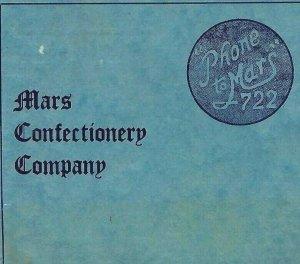 MA-098 Mars Confectionery Company Restaurant Menu Ice Cream Tea Sandwiches 1950s