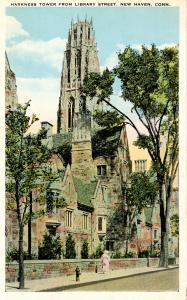 CT - New Haven - Yale University. Harkness Tower from Library Street