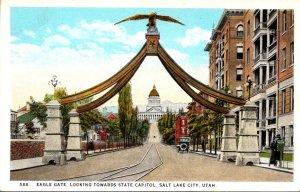 Utah Salt Lake City Eagle Gate Looking Towards Capitol