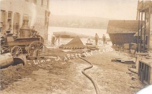 F11/ Cincinnati? Ohio RPPC Postcard c1910 Flood Disaster Steam Engine River
