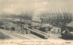 1907 Penn Railroad Docks ASHTABULA Ohio Harbor Holmes postcard 3549