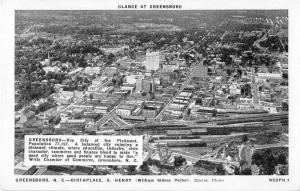 Greensboro North Carolina Birds Eye View Antique Postcard J51638
