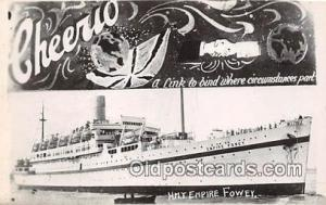 Non Postcard Backing, HMT Empire Fowey Cheerio Ship Postcard Post Card Cheeri...