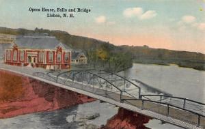 Opera House, Falls & Bridge, Lisbon, New Hampshire, Early Postcard, Unused