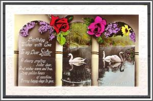 Birthday Wishes To My Dear Sister Roses Swans - [MX-184]
