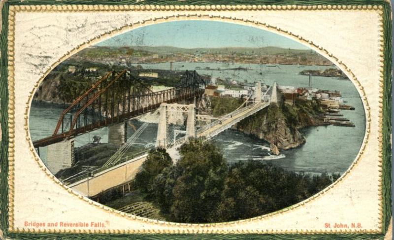 Bridges and Reversible Falls - Saint John NB New Brunswick Canada - pm 1913 - DB