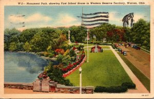 Ohio Warren Monument Park Showing First School House In Western Reserve Terri...