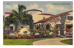 A Beautiful Florida Home Vintage Linen Postcard Photo G W Romer