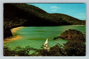 St John US Virgin Islands, Trunk Bay's Beach, Chrome Postcard