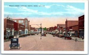 Rome, Georgia Postcard BROAD STREET Looking North Downtown Scene Sample c1940s
