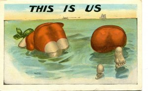 Vintage COMIC Postcard FAT swimming MAN & WOMAN Big Butts This is Us