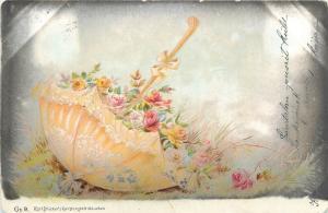 Karl Stucker`s signed vintage 1899 postcard flowers floral umbrella fantasy